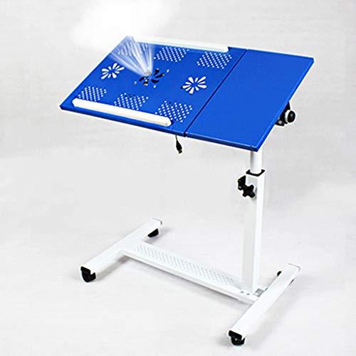 Betty Tabelle Rollender Laptop-Tisch mit Ventilatoren Notebook-Ständer Schreibtisch Krankenhaus-Tischständer Abschließbare Rollen, höhenverstellbar, 65x36x65-95cm (Color : Blue)