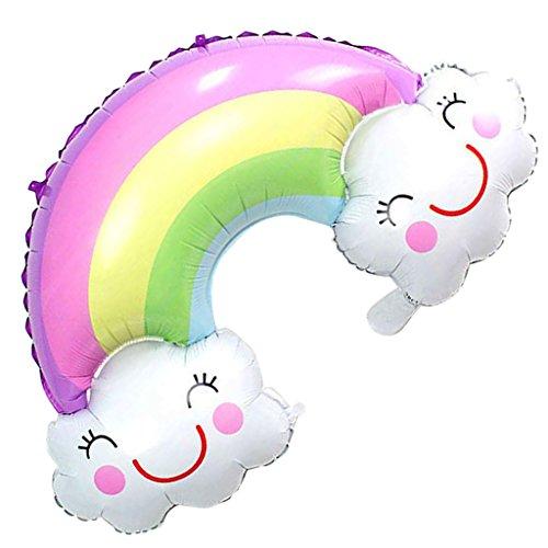 Sharplace 91 x 61 cm Regenbogen Ballons mit Lächeln Gesicht, Folienballons Luftballons Regenbogen Wolke Form Heliumballons Luftballons für Geburtstag Valentinstag Hochzeit Verlobung