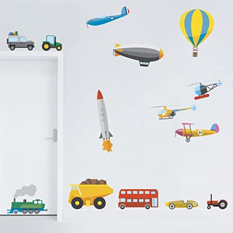 Supertogether Transport Childrens Wall Stickers - Kids Vehicles Decals for Bedroom Playroom or Nursery