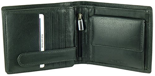 Mens Designer Soft Black Leather Wallet with 15 Credit Card Slots, 2 Note Sections & Coin Pocket