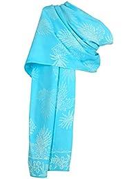 Turquoise batik Leaves Long scarf