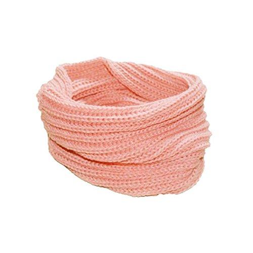 Transer ® Femelle Écharpes,Mode féminine chaud tricot cou Cercle laine mélangée Cowl Snood polyvalent en laine Écharpe Promotion Hot en Europe Rose
