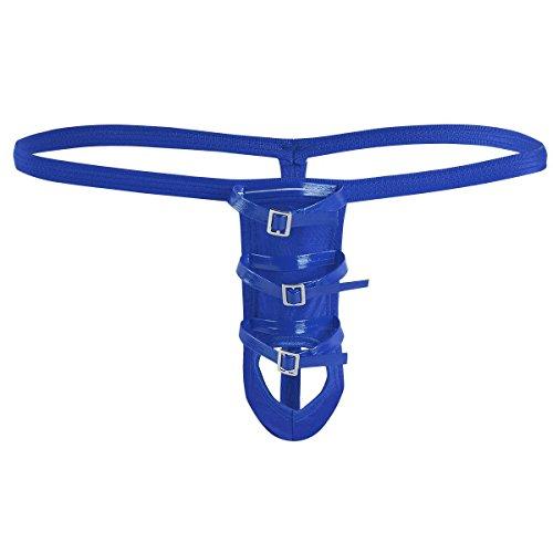 YiZYiF Herren Slips Erotik Unterwäsche Unterhosen Bandage Design Bikini Hose Shorts Tanga Männer G-String Höschen (Blau) -