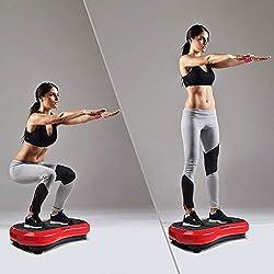 Mvpower Fitness Plataforma Vibratoria, Dispositivo con Oscilante 3D, Control Remoto, Gran Área Antideslizante, Altavoz, Ideal Máquina de Ejercicio para Adelgazar Tonificar y Relajar Músculos