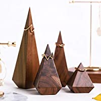BanST Walnut 4pcs Wood Ring Display Holders Jewelry Stand Towers Perfect Business Photoshoot Boutique Store Closet Solo Show Pyramid Block Room Decoration【Walnut Pyramid 4 pcs 】