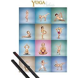 Póster + Soporte: Bebés Póster (91x61 cm) Yoga Babies Y 1 Lote De 2 Varillas Negras 1art1®