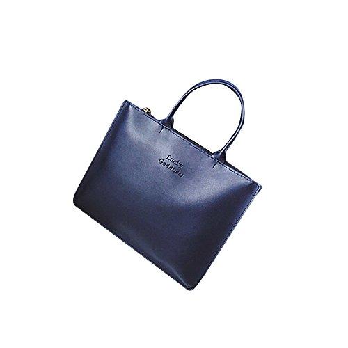 Longra Adatti a donne di cuoio della borsa a tracolla singola Blu