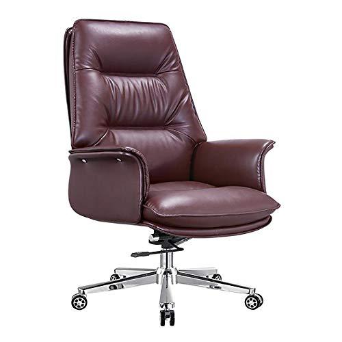 YGB Bürostuhl,Orthopädischer Chefsessel Ergonomischer Schreibtischstuhl Höhenverstellbarer Bürostuhl(Brown)