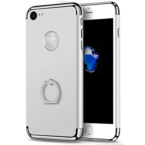 iPhone 7 Case, JOYROOM 3 in 1 ultra sottile e slim difficile custodia copertura con 360 anello rotante kickstand per iphone 7(Gold) Silver