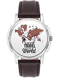 Travel Watch - BigOwl Lets Travel The World Airplane World Map Design Leather Strap Casual Wrist Watch For Men...