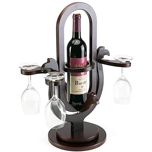 GEPFD-WINRK Holz Weinregal, Wohnzimmer Dekoration Weinregal, kreative Massivholz Flaschenregal, Haushalt Weinregal, Rotwein Glas Invert Weinregal (40x20x50cm) (Glas Flasche Herzstück)