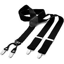 DonDon® Herren Hosenträger breit 4 Clips mit Leder in Y-Form – elastisch und längenverstellbar in verschiedenen Designs
