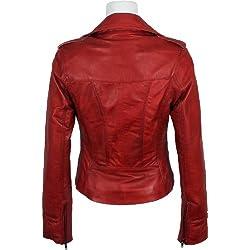UNICORN Mujeres Genuino real cuero chaqueta Rojo encerado #Z3 (50)
