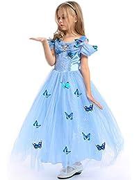 URAQT Traje del Vestido / Traje de Princesa Azul con Mariposas Vestido infantil Disfraz de Princesa de Niñas para Fiesta Carnaval Cumpleaños Cosplay Halloween