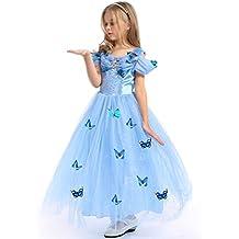 URAQT Traje del Vestido / Traje de Princesa Azul con Mariposas Vestido infantil Disfraz de Princesa