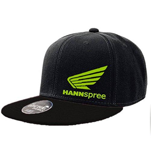 Preisvergleich Produktbild SHIRT-TO-GO Fun Cap original Snapback schwarz mit hellgrünem Aufdruck Hannspree Schriftzug und Honda Flügel
