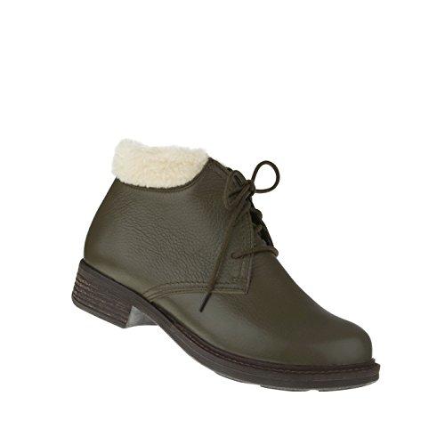 tessamino Damen Stiefelette aus Hirschleder, klassisch, Weite H, für Einlagen Olivgrün