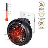 Elektrische Heizung - 1000W Keramik Mini Heizung Thermostat Elektrische Heizung mit Timer Heizlüfter für Steckdose (Schwarz)