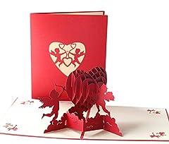 Idea Regalo - Biglietto per San Valentino,Deesos Biglietto d'auguri per gli innamorati, Biglietto di auguri pop-up 3D, miglior regalo per il compleanno o l'anniversario dell'amante (Cupido)