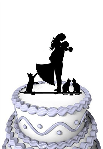 Mei Jia Fei Brautigam Hold-Braut mit 3 Katze Hochzeit Acryl-Kuchen-Deckel (Kuchen-deckel-monogramm-m)