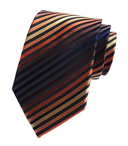 Kihatwin Herren Krawatten-Muster, kariert, gestreift, 8,4 cm - bronze - Einheitsgröße -