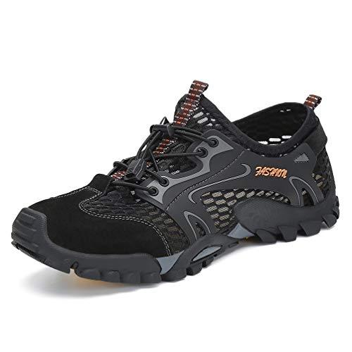 Flarut Herren Sommer Trekking Sandale Wanderschuhe Super Atmung Draussen Hiking Schuhe Mesh Vamp Wasserschuhe Sport Laufen Klettern(schwarz,42)
