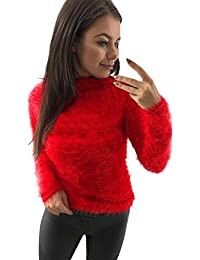 Overdose Women Sweater Turtleneck Jumpers Plush Solid Long Sleeve Tops