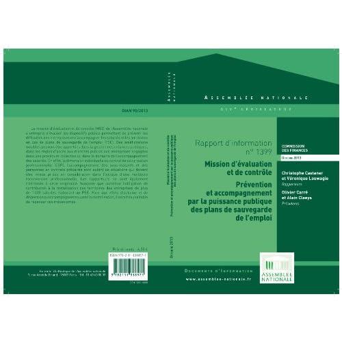 Rapport d'information de la mission d'évaluation et de contrôle de la commission des finances: prévention et accompagnement par la puissance publique des plans de sauvegarde de l'emploi