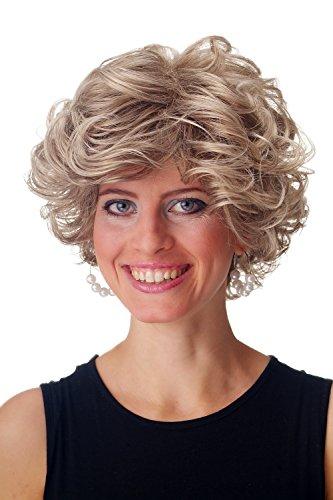 8T22 Perücke Damen Herren kurz wild voluminös gelockt dunkel Blond Braun Mix ()