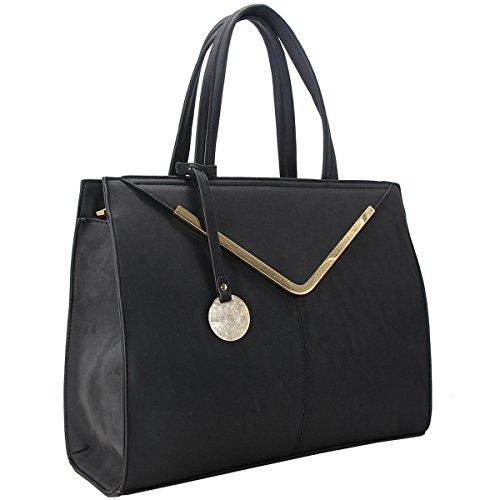 CRAZYCHIC - Damen Handtasche mit Gold Schlüsselanhänger und Platte - Frau Tasche - Große Tote Shopper - Henkeltasche - Stilvoll Schultertasche - Mehrfarbig - Schwarz (Tote Gold-große)
