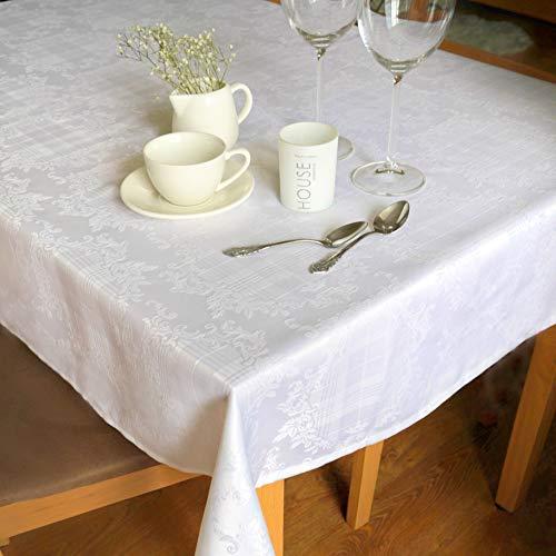 AHOLTA DESIGN schmutzabweisend Weiß Tischdecke Polyester Tisch Leinen, rechteckig, Quadratisch, Rund, Wäschen Leicht, Nicht Bügeln-Thanksgiving, Abendessen, Hochzeit Rectangular 52
