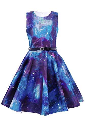 Funnycokid Mädchen Vintage 50er Jahre Kleid Classy Vintage Floral Swing Kinder Party Festlich Kleid A-Line Retro Kleider mit Gürtel