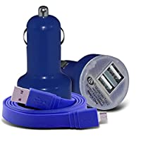 (Blue) Vernee Active Universal Compact design 12v Quick Compact Mini Bullet USB Dual Port In Car Charger & 2x Micro USB Flat 1 Metre Data Snyc PC Tablet Charging Cable Exclusive To i -Tronixs