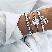 CanVivi Bohemian Bracelet Sets Handmade Weave Heart Long Tassel Bracelet Women Grey Rope Chain Bracelets Jewelry 4 Pcs