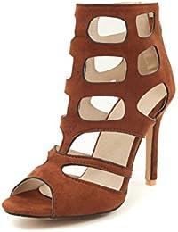 Zapatos de mujer Zapatos de primavera y verano, Mujeres Sandalias de tacón bajo Zapatos de mujer romana con cordones...