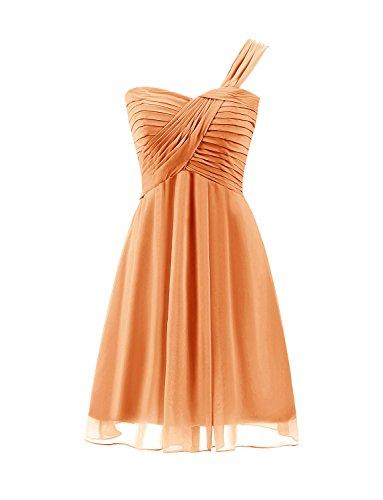 Sarahbridal Damen Chiffon Kurz Ein-Schulter Abendkleider Cocktail Ballkleid Faltenrock SSD427 Orange...