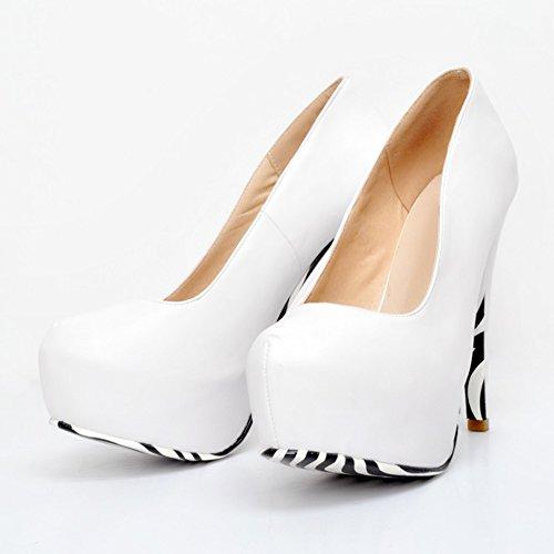 Kolnoo Damen Faschion Stilett-hohe Absätze verborgene Plattform Partei Gericht Schuhe Pumpen White