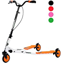 Homcom–Patinete plegable de 3ruedas, largo, para niños a partir de 7años, Arancione - arancione