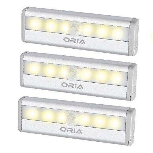 ORIA Schrankbeleuchtung Licht, 3 Stück 6 LEDs Sensor Schrank Licht, Automatische Sensor Lampe mit Bewegungsmelder und Magnetstreifen, Perfekt für Schubladen & Schuh Kabinett & Schrank, etc – Gelb