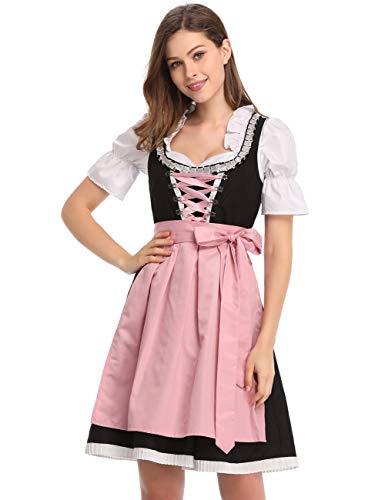 Clearlove Dirndl 3 TLG.Damen Midi Trachtenkleid für Oktoberfest,Karneval,Spitzen Kleid&Bluse&Schürze (38, Rosa)