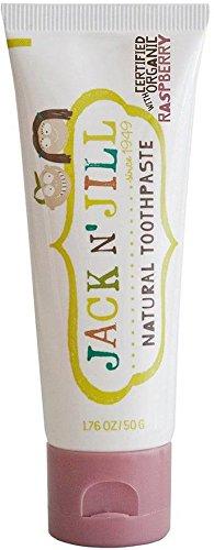JACK N 'JILL - Natürliche Zahnpasta Himbeergeschmack - Frei von Fluorid und Zucker - Sehr mild - Geeignet für Kinder und Erwachsene - Erhältlich in verschiedenen Geschmacksrichtungen - 50 g (Fluorid-zahnpasta Aquafresh)