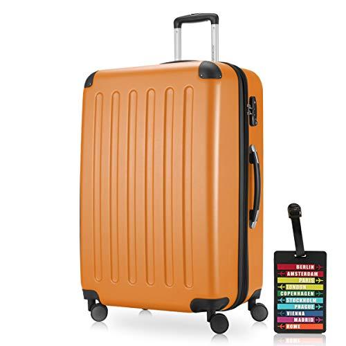 Hauptstadtkoffer - Spree Hartschalen-Koffer-XL Koffer Trolley Rollkoffer Reisekoffer Erweiterbar, 4 Rollen, TSA, 75 cm, 119 Liter, Orange +Design Kofferanhänger
