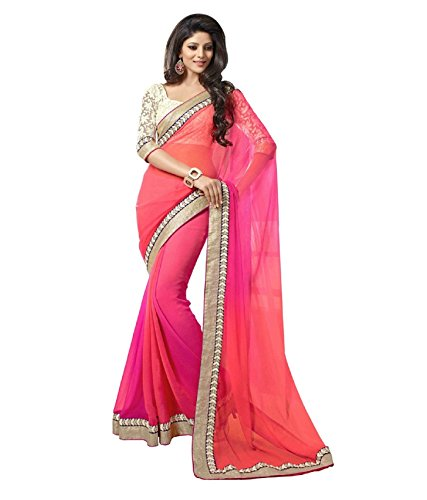 Florence Pink Chiffon Embroidered Saree