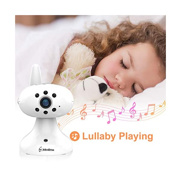 """MiniBoss Baby Monitor with Camera Video Audio Monitor 3.5"""" LCD Screen Temperature Sensor Night Vision Lullaby Two-Way Talk  【Wireless & Secure Connection】The baby monitor equipped with 2.4GHz digital frequency provides security and interference-free connection without any network access. 【Upgraded Camera & VOX Function】The video baby monitor offer high definition and stable audio video streaming to last 7 hours per fully charged. It covers a long distance transmission range of up to 960 feet, and expandable up to 4 cameras for simultaneous monitoring. 【Two-way Talk & Lullabies】The audio baby monitor has advanced built-in microphone and speaker for clear two-way audio conversations between the wireless monitor and camera sides. Allows you to talk back promptly or play lullabies to soothe baby when she is crying. 6"""
