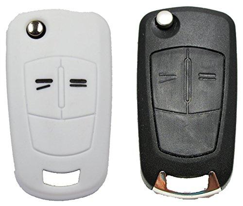 Gradert-Elektronik 1x Weiße Autoschlüsselhülle - Opel 2 Tasten - Silikonhülle - Fernbedienung - Schlüsselhülle - Key Cover - Schutzüberzug - Klappschlüssel - Gehäuse - Tasche - Silikoncover Corso Cover