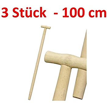 3 x Spatenstiel Grabegabel Spatengabel Stiel Holzstiel  130cm Set Ø 37