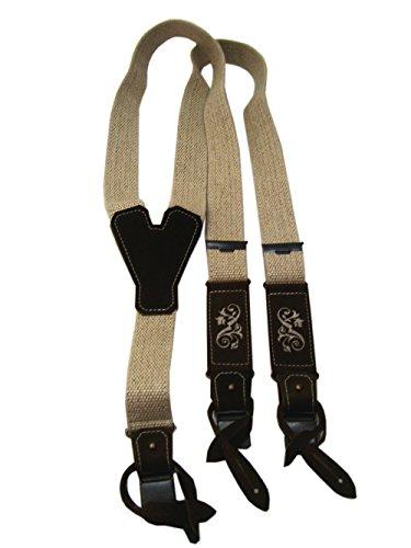 Hochwertige Trachten Hosenträger für Herren in beiger Leinenoptik mit Stickerei 110cm