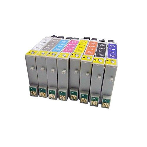 Lot de 8 cartouches d'encre génériques (non originale) compatibles avec les imprimantes suivantes : Stylus Photo R800 R1800 Puce(s) électronique(s) incluse(s). Remplacent les références d'origine: Epson T0540 T0541 T0542 T0543 T0544 T547 T0548 T0549