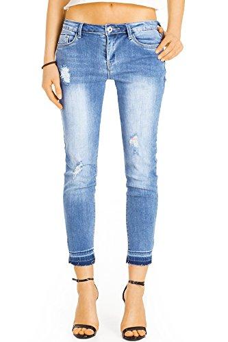 Bestyledberlin Damen knöchellange Jeans, Kürzere Skinny Fit Sommerhosen, Zerrissene 7/8 lange Röhrenjeans j24k