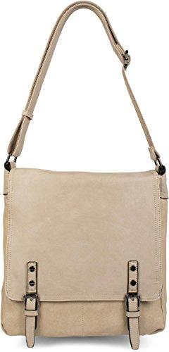 styleBREAKER Messenger Bag Umhängetasche mit Schnallen auf der Vorderseite, Schultertasche, Tasche, Unisex 02012218, Farbe:Creme-Beige